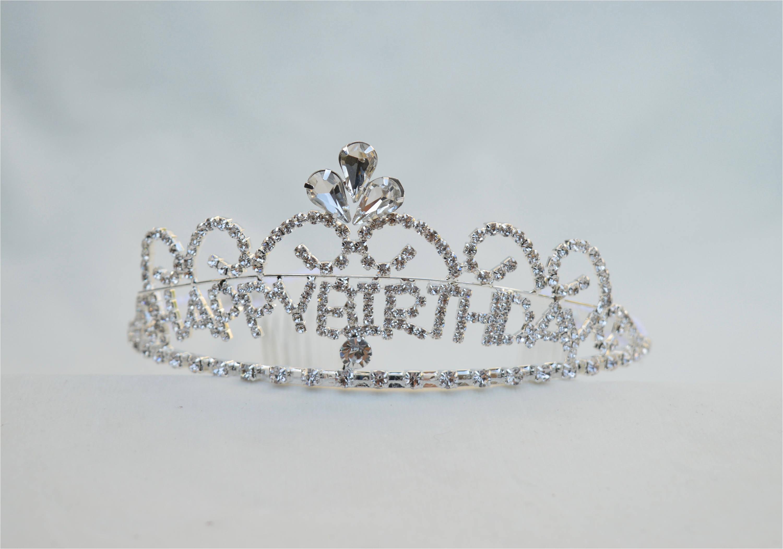 happy birthday silver rhinestone tiara