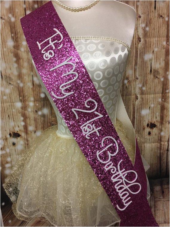 21st birthday sash pink glitter sash