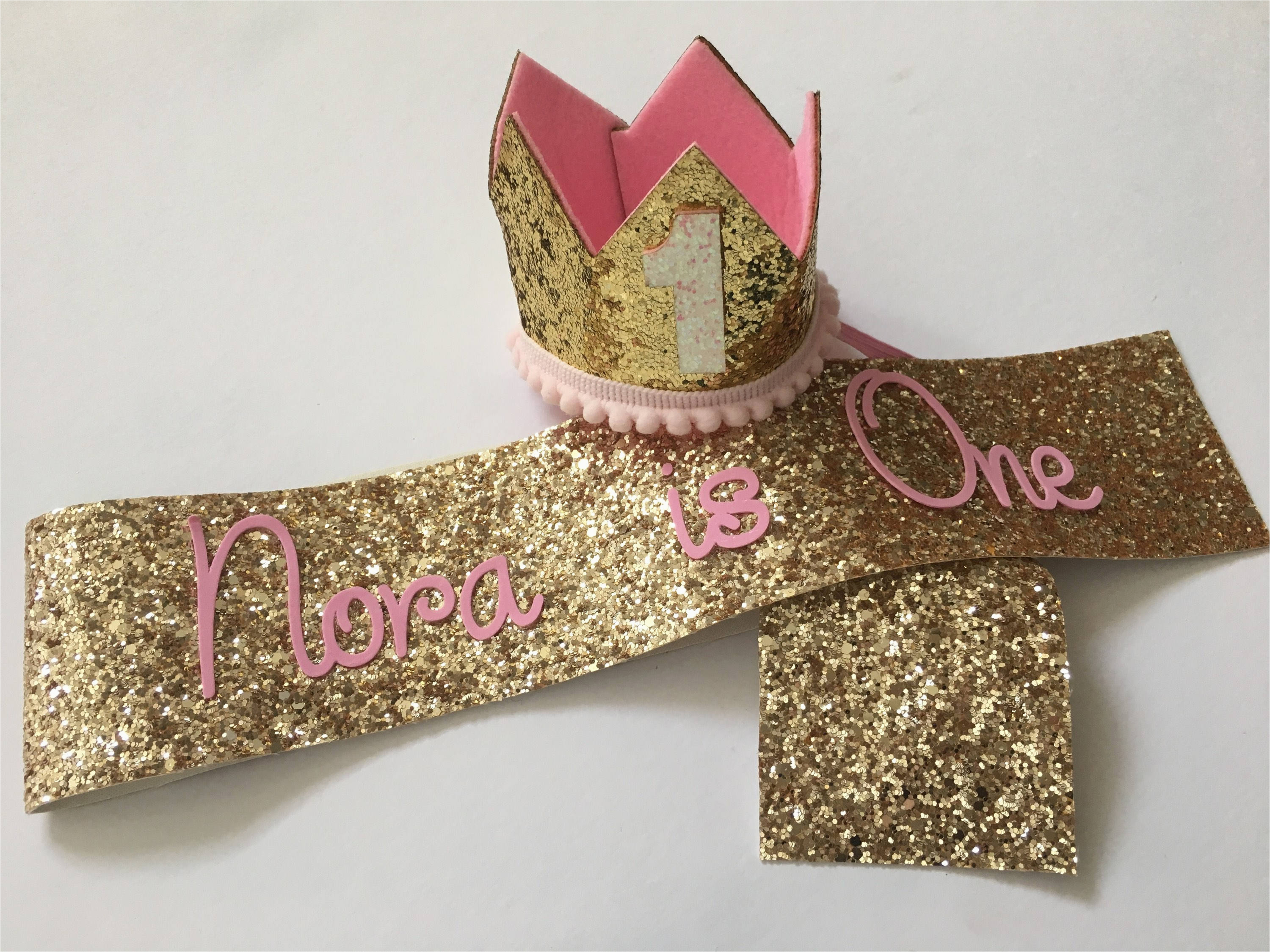 one year old birthday girl sash crown