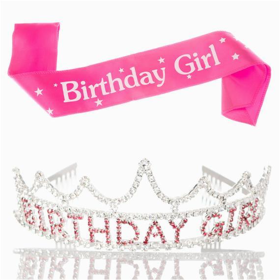 Birthday Girl Sash and Tiara Birthday Girl Tiara and Sash Bundle Rhinestone Silver Pink