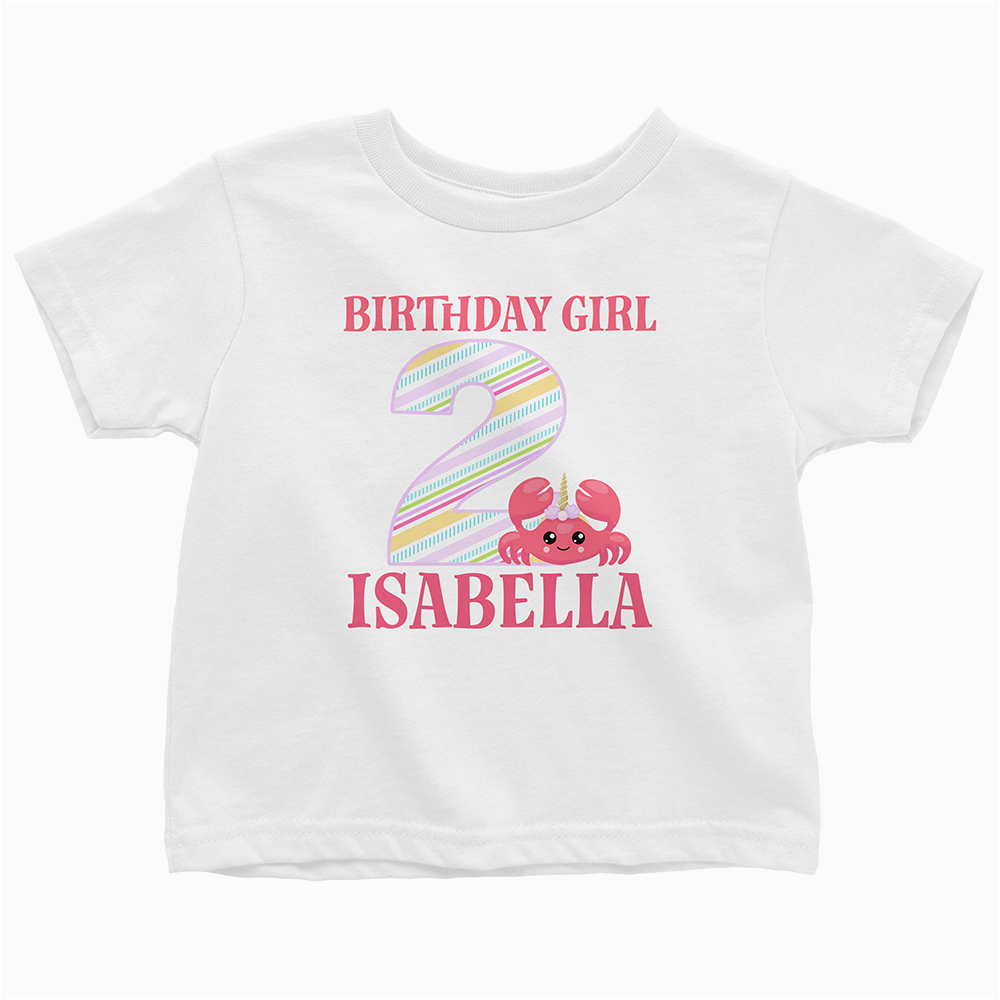 birthday girl unicorn crab personalized age and name graphic t shirt