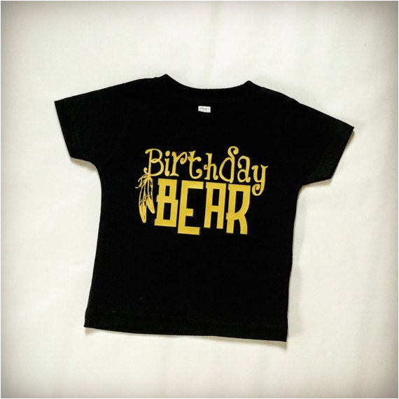 birthday bear t shirt black and gold