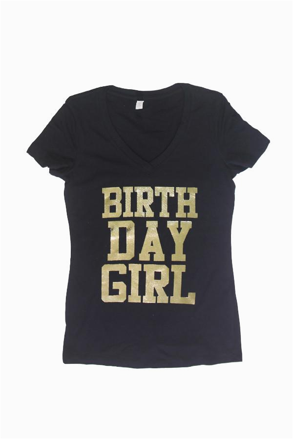 gold birthday girl v neck