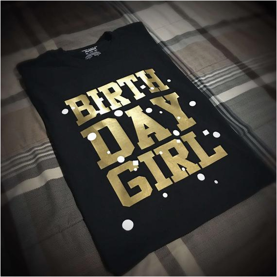 birthday girl t shirt black gold and