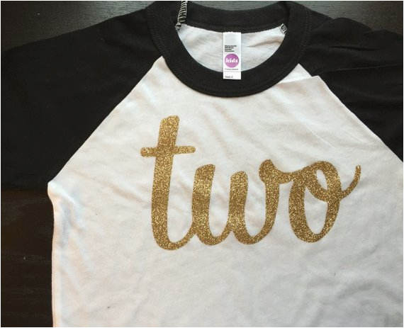 black and gold second birthday shirt two