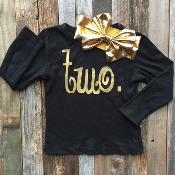 birthday shirt gold and black floppy bow
