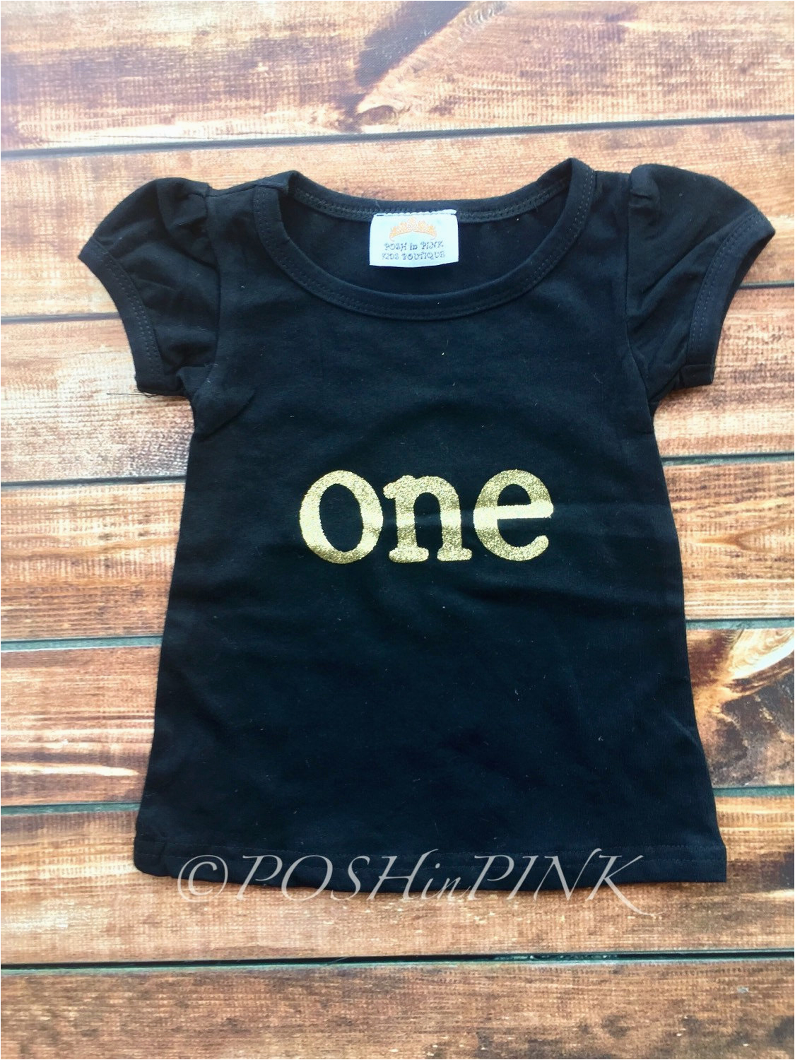 one year old birthday shirt black and