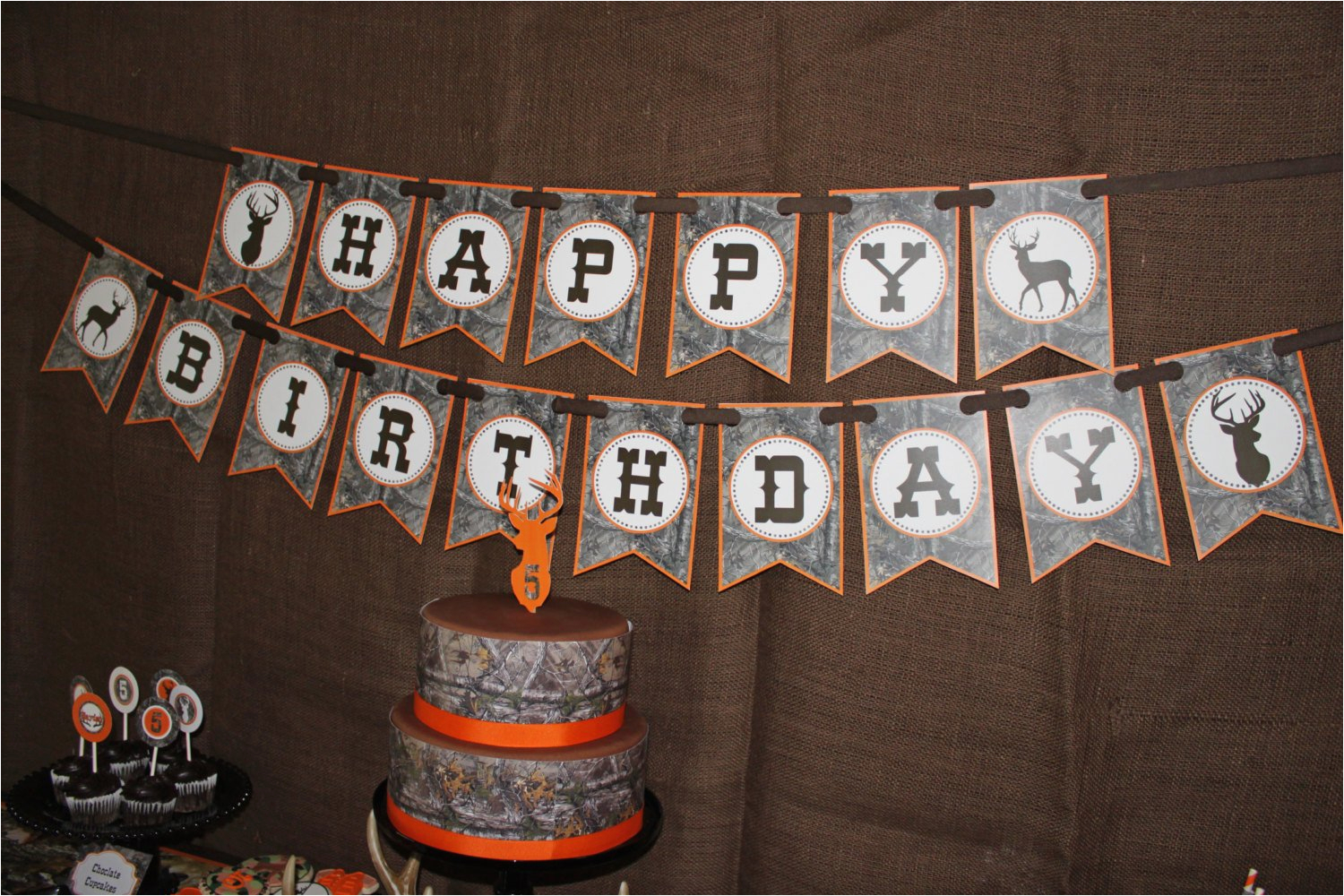 camo boy hunting banner birthday party