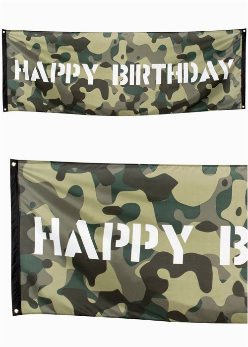 camouflage happy birthday fabric banner 2 2m pid101800
