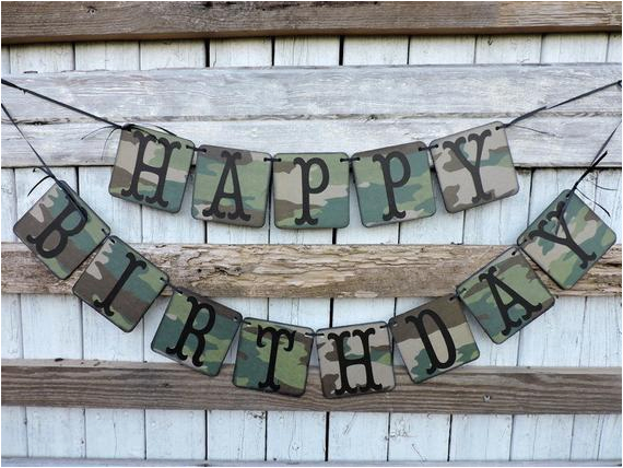 camouflage happy birthday banner