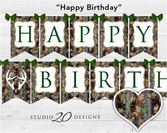 instant download camo birthday banner