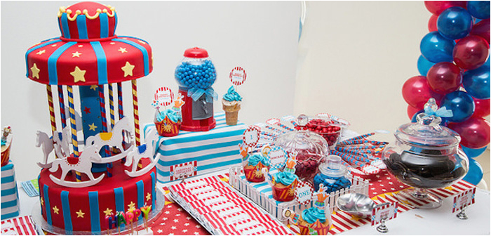 circus carnival themed 1st birthday party 3
