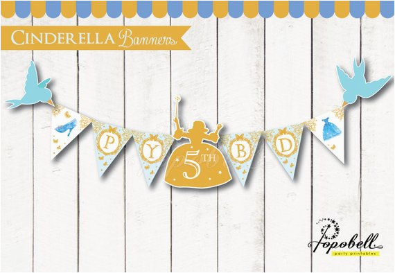 Cinderella Happy Birthday Banner Cinderella Full Happy Birthday Banners for