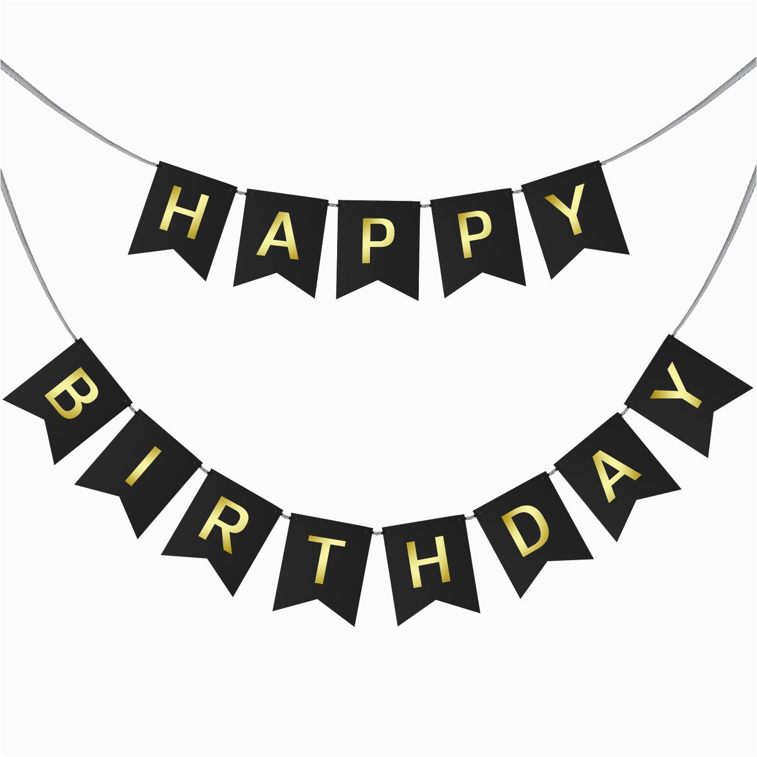 happy birthday swallowtail bunting banner for party decoration black background gold foiled letters classy luxurious decorations by ahaya 2