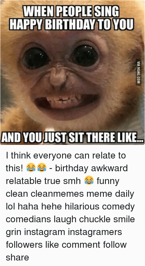 Clean Funny Birthday Memes when People Sing Happy Birthday to You and Youjust Sit