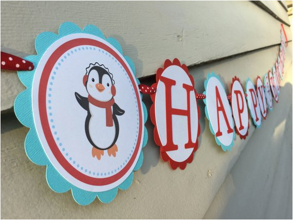 cool penguin happy birthday banner red