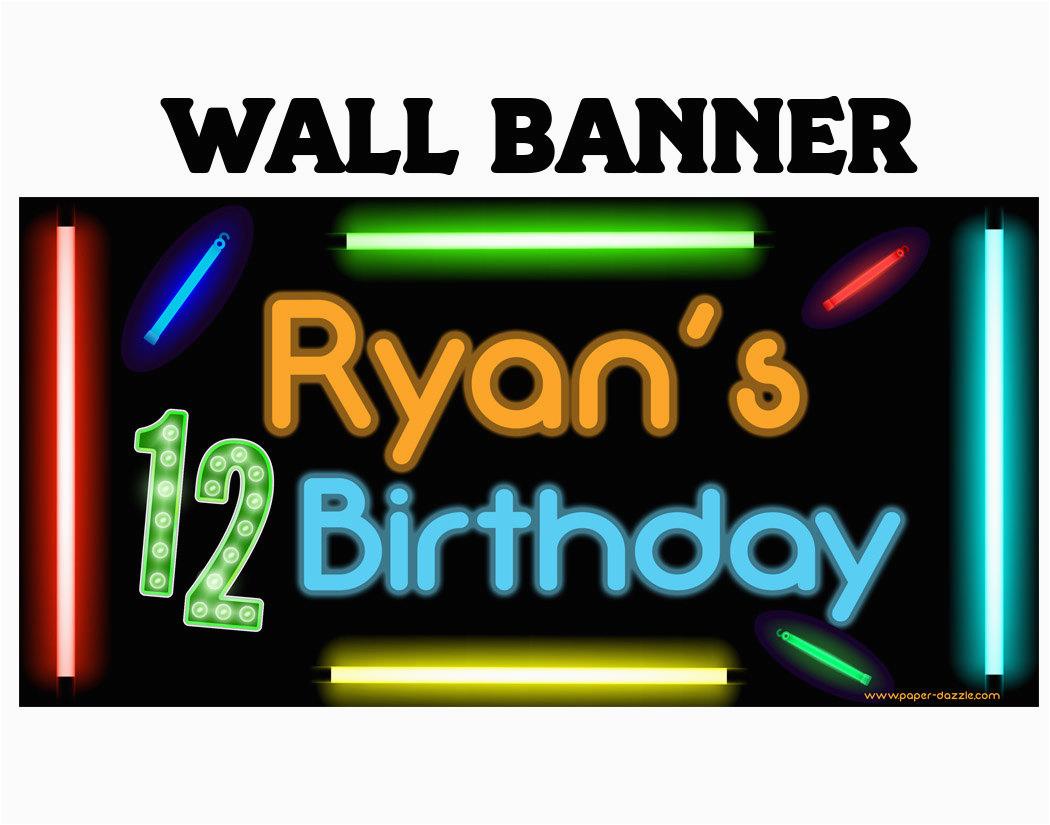Cool Happy Birthday Banner Happy Birthday Banner Cool Glow Photo Birthday Personalized