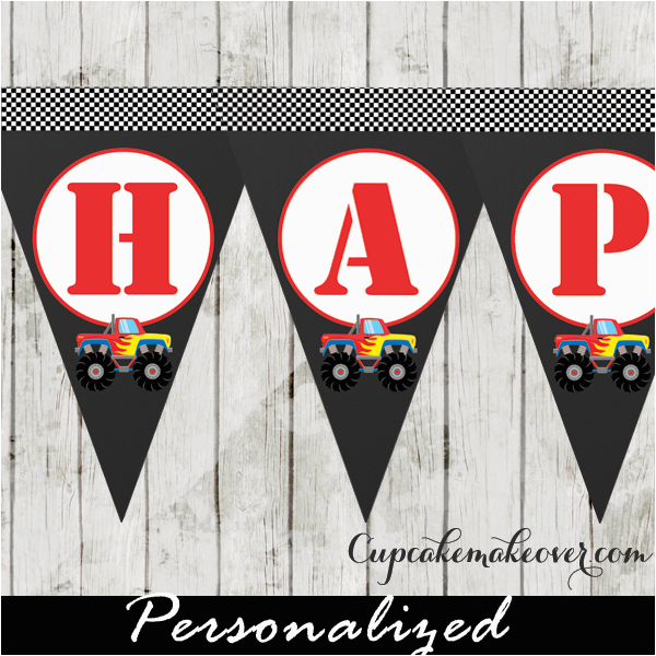 red monster truck happy birthday banner instant download