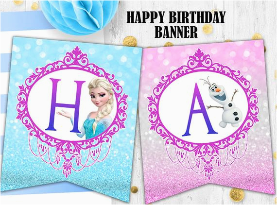 frozen elsa birthday banner glitter