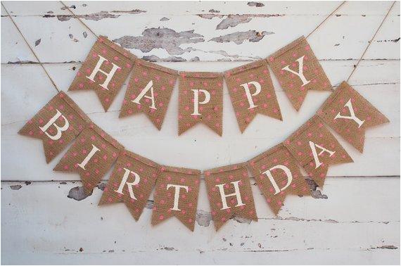 pink polka dot happy birthday banner