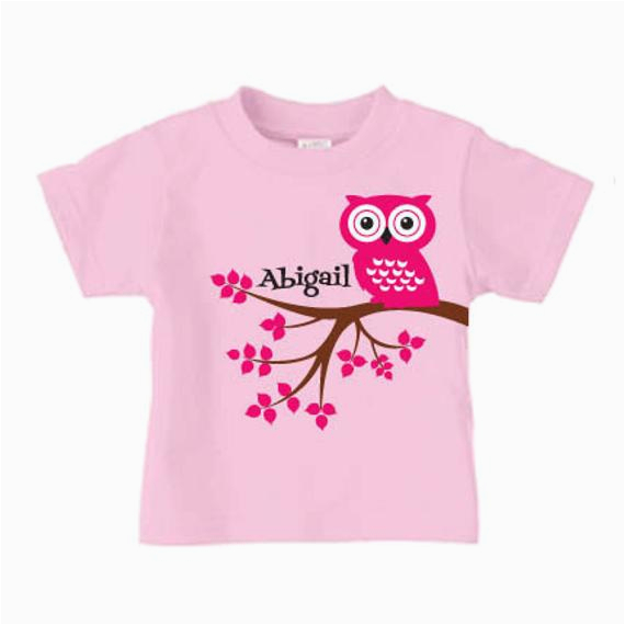 Cute Birthday Girl Shirts Personalized Cute Owl T Shirt for Girls Birthday Shirt for