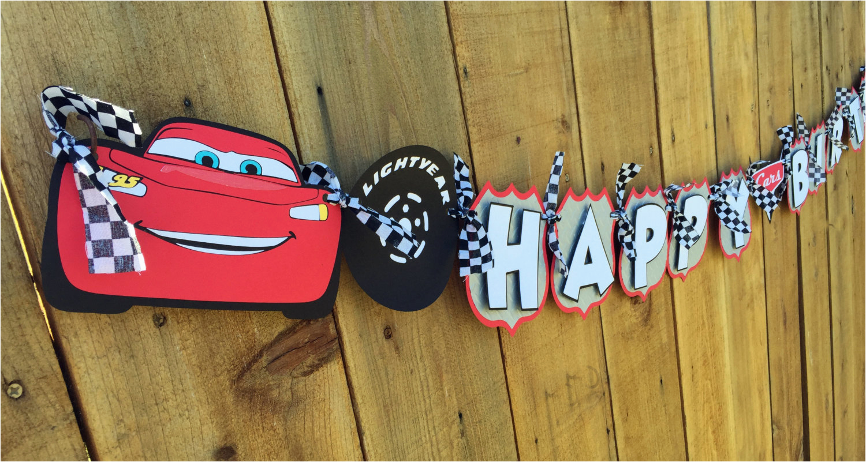 Disney Cars Happy Birthday Banner Premium Disney Pixar Cars Birthday