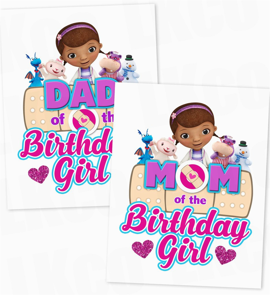 doc mcstuffins iron on birthday shirt transfer printable images mom dad of the birthday girl