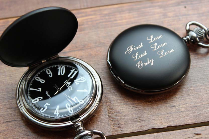 personalized pocket watch black matte black and white dial personalized groomsmen gift for him birthday engraved fathers daya