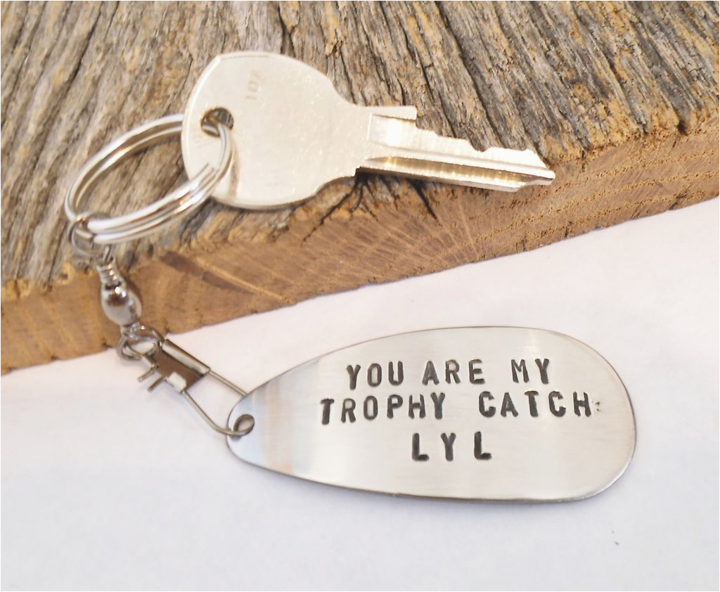 fishing boyfriend keychain for birthday gift for husband personalized fishing lure key chain wife handstamped keychain for him anniversary