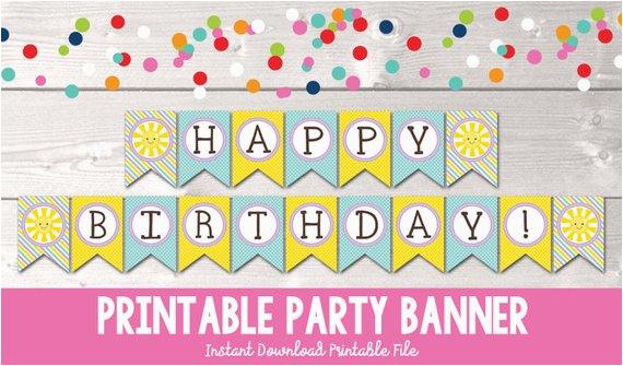 sunshine happy birthday banner instant download