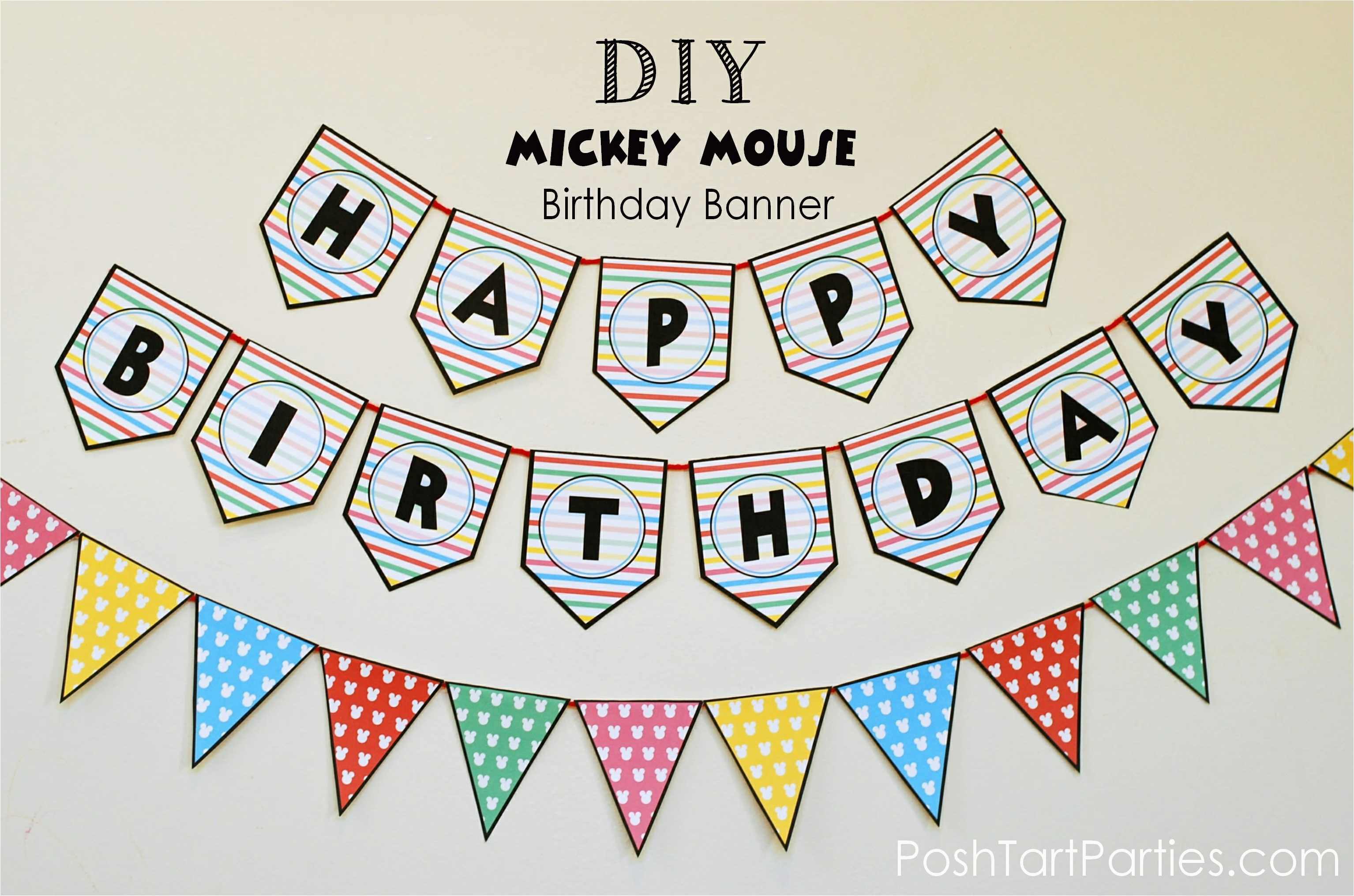 a mickey and minnie mouse party free printable happy birthday banner