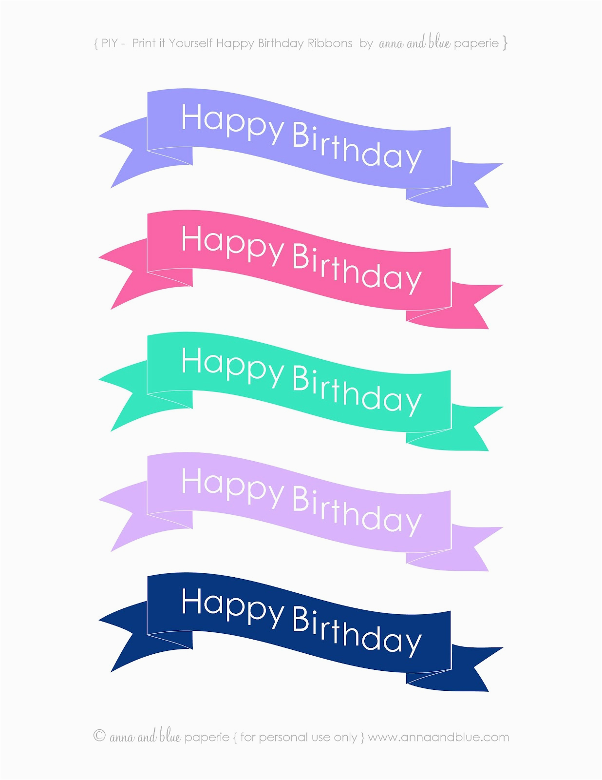 free printable happy birthday ribbons
