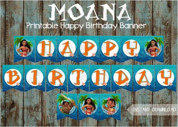 moana banner moana happy birthday banner
