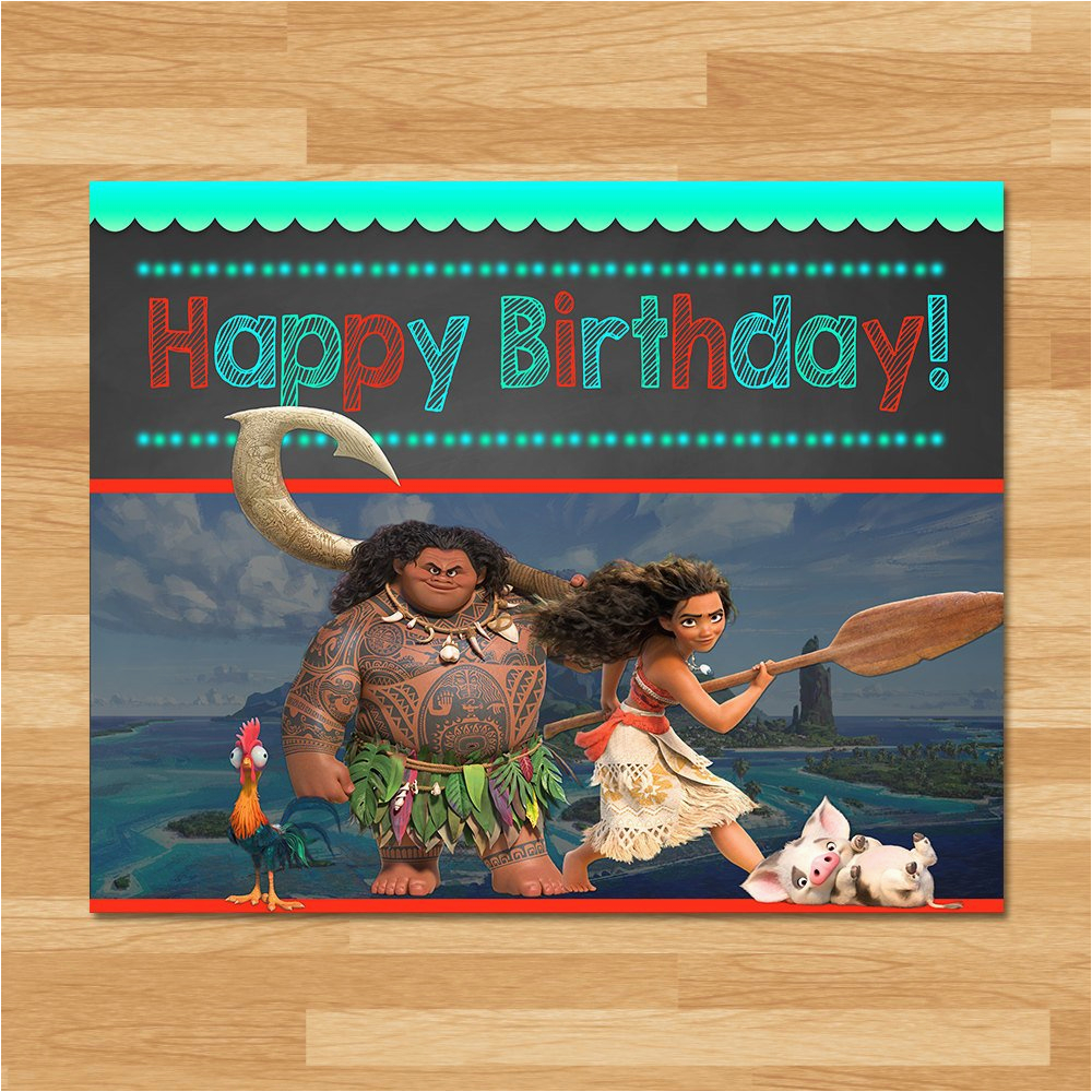moana happy birthday sign chalkboard