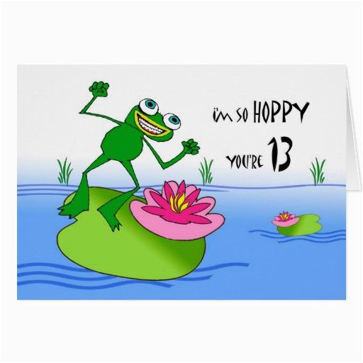 hoppy thirteenth 13th birthday funny frog at pond card 137521514822778732
