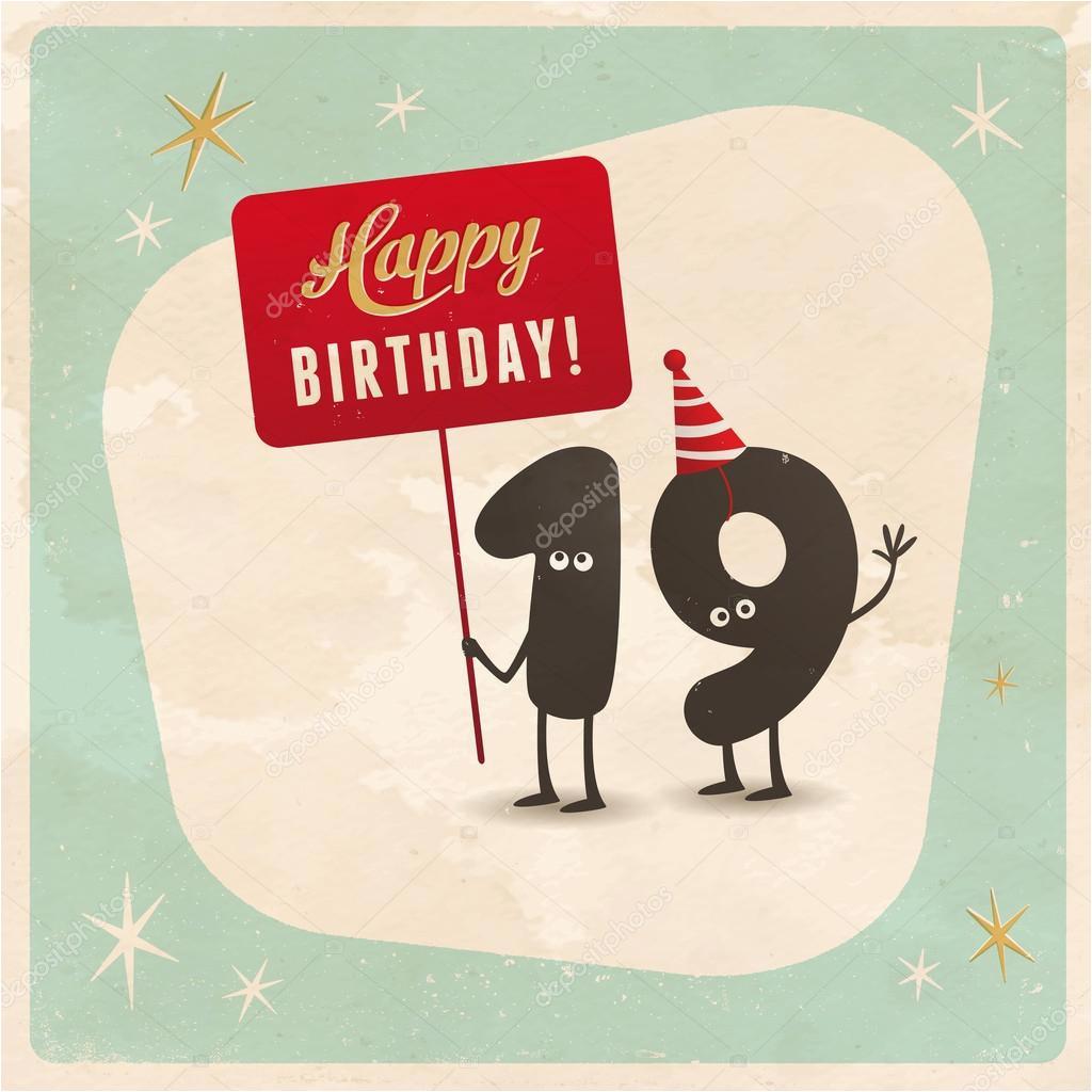 stock illustration funny 19th birthday card