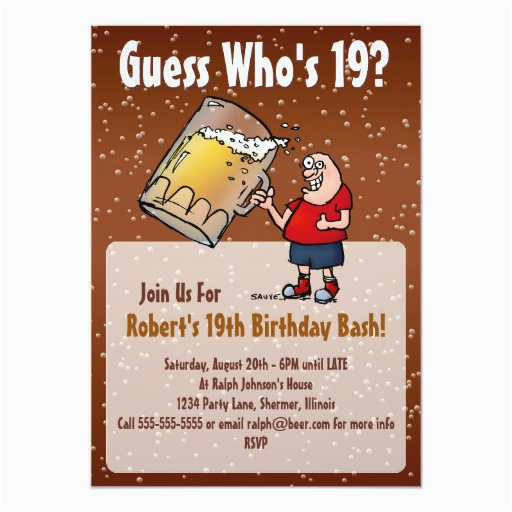 funny 19th birthday party invitation with big beer 256114661084861219