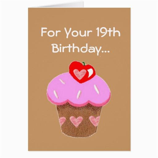 funny chocolate cupcake 19th birthday greeting card 137200102075820070