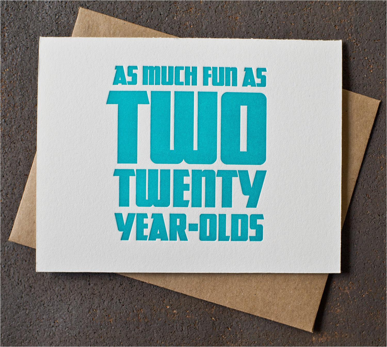 letterpress 40th birthday card fun as
