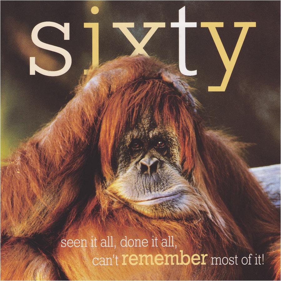 age 60 funny birthday card orangutan framed