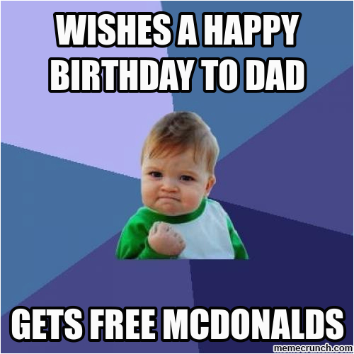 wishes a happy birthday to dad