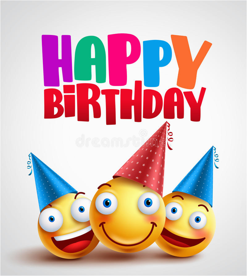 stock illustration happy birthday smileys celebrant happy friends funny vector banner design white background colorful text image92092970