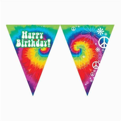 tie dye fun happy birthday banner