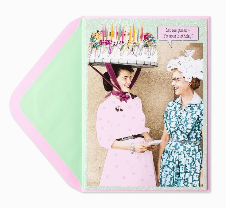 Funny Old Lady Birthday Cards Cake Hat Humor Card