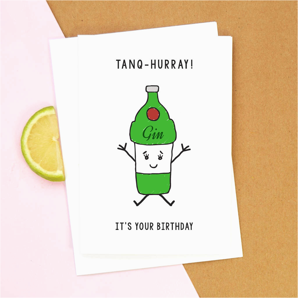 funny gin birthday card