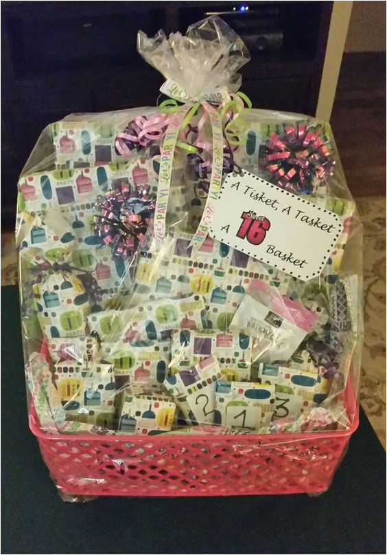 Gift Ideas for Sweet 16 Birthday Girl A Tisket A Tasket A Sweet 16 Basket Filled with 16