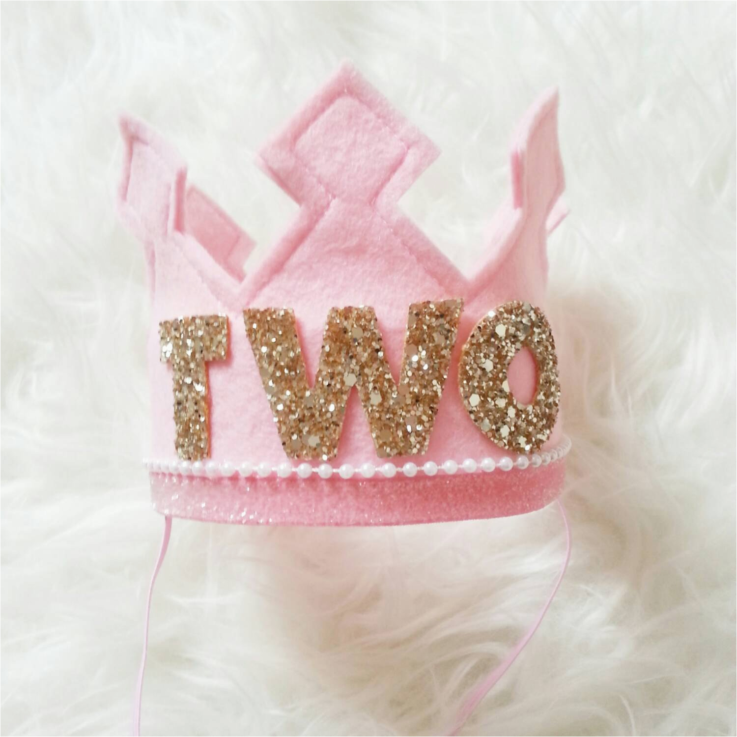 pink and gold birthday girl felt crown