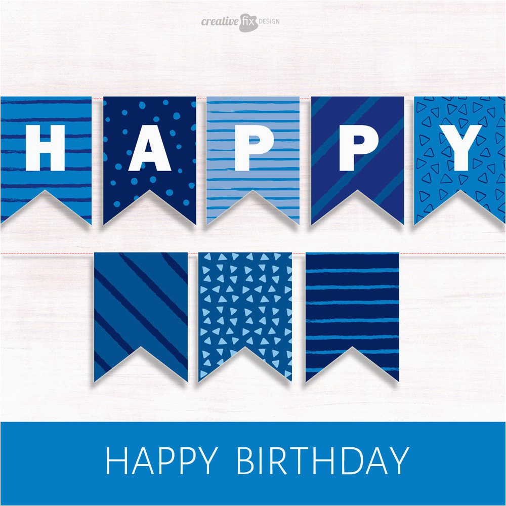 printable banner blue happy birthday
