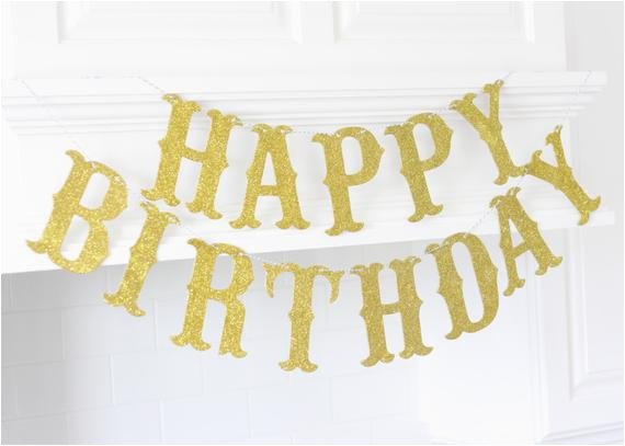 happy birthday glitter banner gold large
