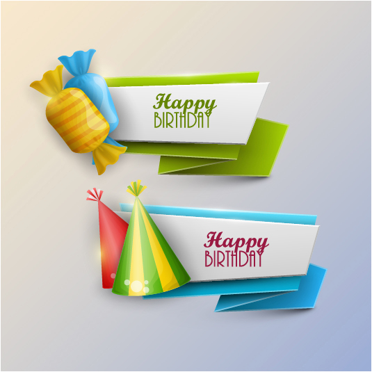 232968 happy birthday banner with candy vector